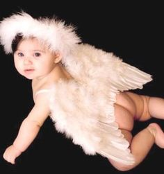 Amazon.com: FashionWings (TM) White Feather Angel Wings and Halo for Baby 6-18 mo. Bonus Poster Photo Frame.: Toys & Games