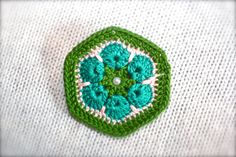 Crochet Flower Hexagon Brooch Green Teal and by CatWomanCrafts, $10.00