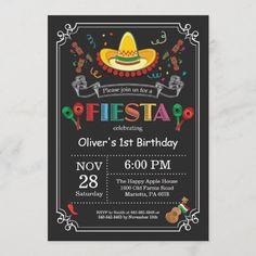 Fiesta Birthday Invitation Chalkboard Mexican 1st Birthday Invitations Boy, 1st Birthday Girls, 1st Birthday Parties, Birthday Ideas, Birthday Cards, Birthday Gifts, Elsa Birthday, Happy Birthday, 11th Birthday