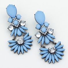 Hot fashion  blue beaded  waterdrop crystal dangle drop statement earring accessories for women