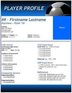 Athletic resume template free resume format templates for Sports profile template