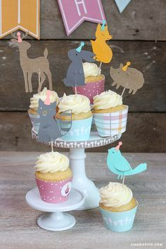 Free Printable: woodland friends cupcake toppers