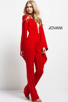 74169c126f8 Red Plunging neckline Long Sleeve Jumpsuit  49603  Jovani  Jumpsuit Jumpsuit  With Sleeves