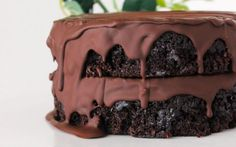 <p>This ultra decadent cake is composed of two layers of cocoa sponge, two layers of silky cashew-based chocolate mousse, all encased in a dark chocolate ganache.</p>