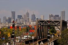 Melbourne City skyline over the docks from Footscray