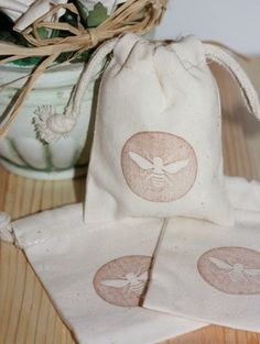 muslin gift bag BEES @Sherry @ Young House Love
