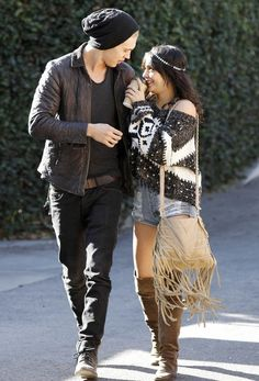 Vanessa Hudgens in MinkPink.  Cute outfit on her and classic blacks on him