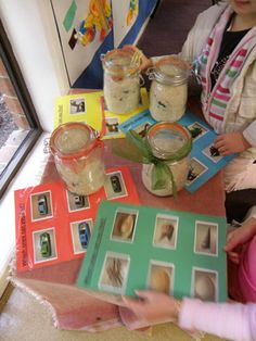 """Eye Spy Jars ~ Variations Color coded laminated pages matching the color on the jars in which to """"spy"""" I like this idea too Preschool Class, Class Activities, Preschool Ideas, Classroom Activities, Teaching Ideas, Fun Projects For Kids, Diy For Kids, Play Ideas, Fun Ideas"""