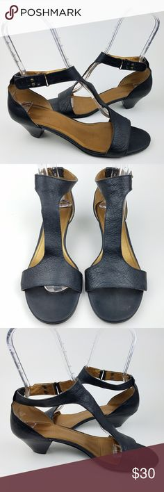 "SALE ❤️ NINE WEST Black Leather Kitten Heel Sandal Women's Nine West Kitten Heel Sandal Black Leather US Size 10M 2"" Heel Pre-owned in great condition! Nine West Shoes Sandals"