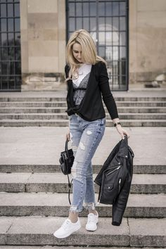 blue jeans, leather jacket, white sneakers, basic top, street style