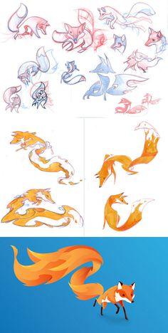 Martin Rijven design para o mascote do Firefox