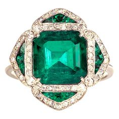 Colombian Emerald Ring. French circa 1910. Colombian emerald (approx. 3.2 cts) and diamond ring, in platinum.