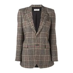 SAINT LAURENT Oversize Tweed Blazer (€1.855) ❤ liked on Polyvore featuring outerwear, jackets, blazers, beige, wool tweed blazer, yves saint laurent jacket, blazer jacket, brown tweed blazer and long blazer
