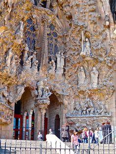 The view of the Nativity facade of La Sagrada Familia, Barcelona, designed by Antoni Gaudi Sacred Architecture, Art Nouveau Architecture, Church Architecture, Beautiful Architecture, Beautiful Buildings, Modern Buildings, Modern Architecture, Antonio Gaudi, Facade Design