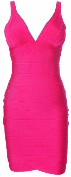 'Jade' Fuschia V - Neck Bandage Dress Sexy Dresses, Sexy Outfits, Cute Dresses, Short Dresses, Vegas Dresses, Pink Dresses, Prom Dress, Hot Pink Fashion, Girl Fashion