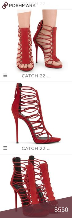 305c9392787 Giuseppe Red Suede Zoey Cage Sandal Sz 39.5 (US 9)   CALIENTE