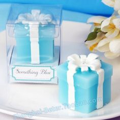 Free Shipping 200box Blue Giftbox Candle Favor Baby Party Decoration BETER-LZ028/B