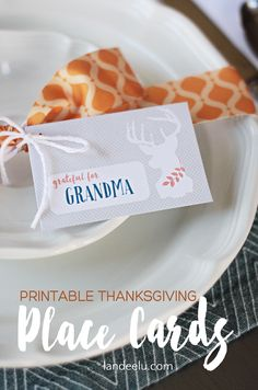 Printable Thanksgiving Place Cards  | landeelu.com  Add text or hand write your Thanksgiving guest's names on these adorable printable place cards!