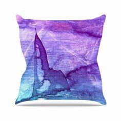 "Malia Shields ""Blues Abstract Series 2"" Purple Aqua Throw Pillow"