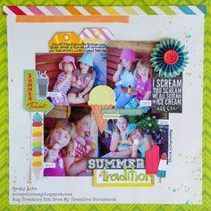 My Creative Scrapbook August Creative kit designed by Becky Litz. Scrapbook Titles, Scrapbook Page Layouts, Scrapbook Cards, Scrapbooking Ideas, Multi Photo, Summer Treats, Title Ideas, Card Making, Orange