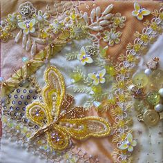 Yellow Crazy Quilt Block - by DON'T call me CRAFTY (Lauri)