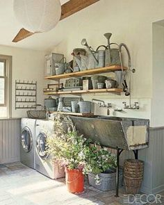 lovely rustic laundry room, maybe less clutter but cute.