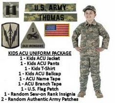 Kid's Army ACU Military Uniform Package. Kids Army Halloween Costume with Authentic Military Patches and Name Tapes!