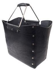 hoher Korb 15 BOOKS VOLKER LANG aus extra starkem Leder Sattelleder groß basket leather black unisex bag auch auf der Schulter tragbar ledergepolsterte Griffe