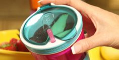 Snackeez is the coolest new cup.  It has a hinged, flip-top lid that snaps shut to keep snacks fresh and in the top of the cup.  It keeps drinks secure in the bottom with a straw for easy access.  Hello Cheerios and Juice!