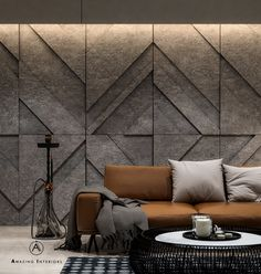 Living room design by: Amazing Interiors Strong lines. Squared arms and rich hues. Living room design nacFamily room designDesign your room for Wall Cladding Interior, Interior Walls, Wall Cladding Designs, Textures Murales, Living Room Designs, Living Room Decor, Wall Panel Design, Interior Decorating, Interior Design