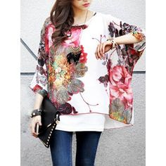 Ethnic Style Scoop Neck Floral Pattern Batwing Sleeve Women's Blouse $9.04