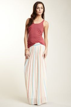 loving the maxi skirt+casual shirt look for summer