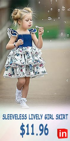 Baby Girls' Active / Street chic Party / Birthday Blue & White Floral Lace up / Print Sleeveless Regular Regular Above Knee Cotton / Spandex Dress Blue / Toddler Spandex Dress, Cotton Spandex, My Baby Girl, Baby Girls, Cute Little Girl Dresses, Girls Dresses Online, Blue And White Dress, Girl Dress Patterns, Dress Cake