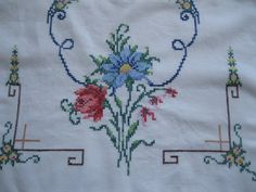 Reserved for Nance..Runner Cross Stitch Runner by mailordervintage