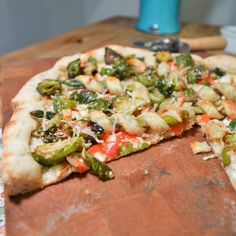 #PizzaTuesday Brussels Sprouts & Asparagus Pastry Straws #Pizza: Maple sesame Brussels sprouts, asparagus puff pastry straws, sauteed red bell peppers, queso fresco, grated Parmesan