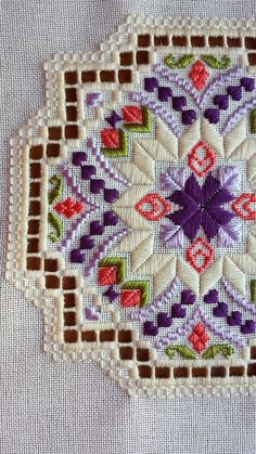 Modern Hardanger motif for placemat or breadcloth corners. Embroidery Designs, Types Of Embroidery, Learn Embroidery, Hardanger Embroidery, Embroidery Stitches, Hand Embroidery, Broderie Bargello, Bookmark Craft, Drawn Thread