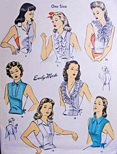 War Time Dickeys Suit Inserts Vestees Pattern DuBarry 5800 Six Beautiful Styles Perfect For Suits or Cardigans One Size Vintage Sewing Pattern-Authentic vintage sewing patterns: This is a fabulous original dress making pattern, not a copy. Retro Mode, Vintage Mode, Vintage Ladies, Vintage Dress Patterns, Vintage Dresses, Vintage Outfits, 1940s Fashion, Vintage Fashion, Patron Vintage