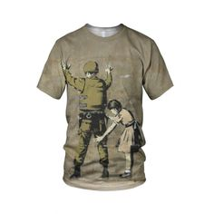 "Girl Searching Soldier in Bethlehem, from the collection of ""Hand Printed"" Designs by the prolific street artist known as ""Banksy"".   More Designs and Styles on the Store: http://www.globalmusicollective.com/store/?product_cat=banksy"