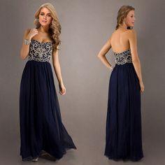 Navy Blue Beading Prom Dresses
