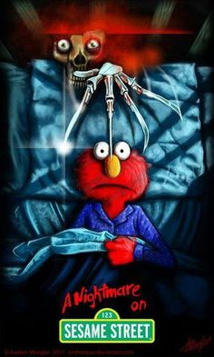 A Nightmare on Sesame Street by *LordNetsua on deviantART This is sorta creepy Horror Cartoon, Horror Movies Funny, Horror Movie Characters, Horror Icons, Scary Movies, Zombie Cartoon, Desenhos Halloween, Horror Artwork, Pokemon