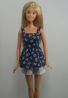 Barbie Doll Clothes Navy Blue and White Shorts Set by OhSoChicDollClothesBoutique, $7.50