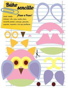 Owl foam template - Mamá Eva Manualidades
