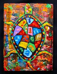 ~COLORFUL TURTLE~wood painting~Maine Abstract FOLK ART outsider~COASTWALKER