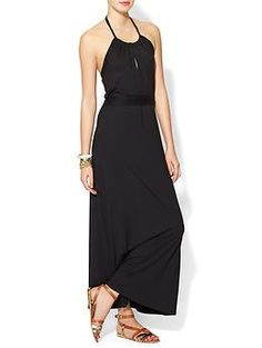 Three Dots Halter Maxi Dress With Shelf Bra   Piperlime