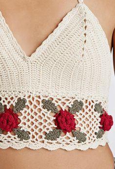 Rose Crochet Halter Top Cream/wine 1