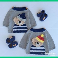these bears want to say good night to my beautiful friends … - Babykleidung Baby Cardigan Knitting Pattern, Baby Knitting Patterns, Baby Patterns, Crochet For Boys, Knitting For Kids, Crochet Baby, Baby Girl Sweaters, Sweater Design, Vintage Sweaters