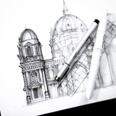 More detail, more tidying about along the way Marker, Sketching, Cathedral, Berlin, Artsy, Pencil, Architecture, Drawings, Instagram Posts