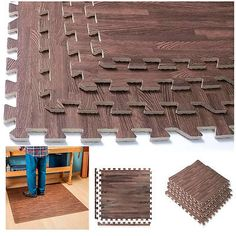 24 Mat Interlocking Dark Wood Soft Foam Exercise Floor Gym Office Cover 96 Sq Ft