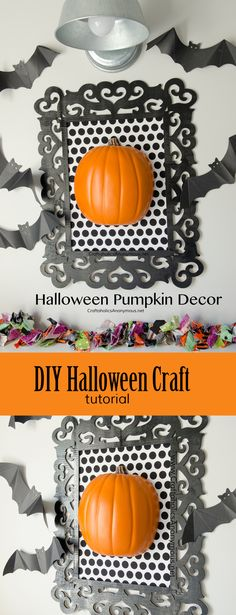 DIY Framed Halloween Pumpkin Decor craft idea || Could use a black and white damask fabric with a white pumpkin for a classic Halloween look. Found on: www.CraftaholicsAnonymous.net