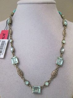 NWT Auth Betsey Johnson Iconic Mint Green Rhinestone Charm Collar Necklace #BetseyJohnson #Charm